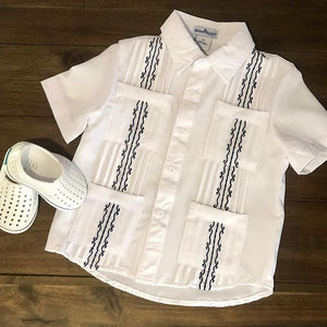 Blue Quail Clothing Co Boys Guayabera Shirt in White/Navy styled
