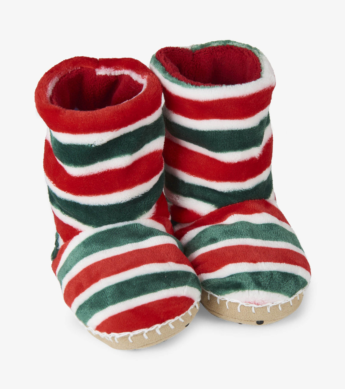 Hatley Kids Boys or Girls Holiday Stripe Fleece Slippers