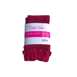 RuffleButts Cranberry Footless Ruffle Tights