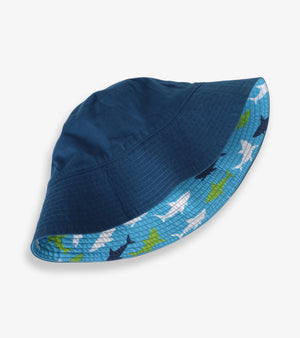 boys reversible sun hat in navy and shades of blue great white sharks print