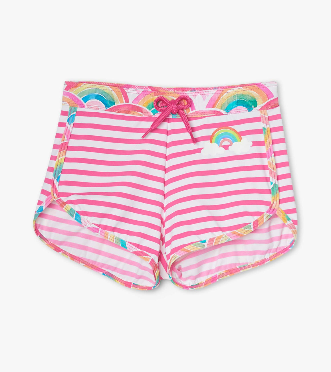 Girls UPF50+ quick dry swim shorts in rainbow stripe print.