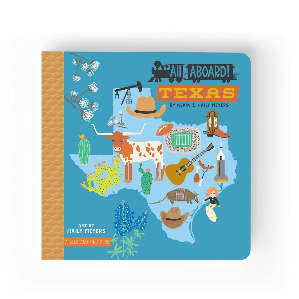 All Aboard Series : Texas. A Seek and Find picture board book for baby's and children. From Lucy Darling