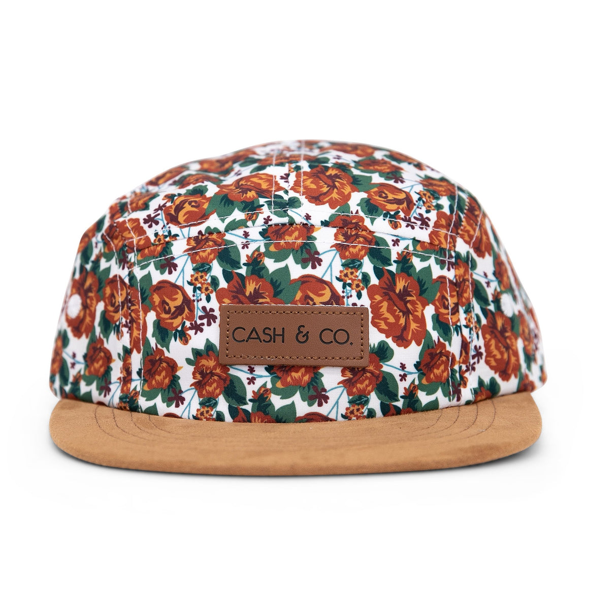 Hawaiian floral print baseball cap with tan suede brim. Adjustable straps. Fits 6 months to adult. Aloha from Cash & Co