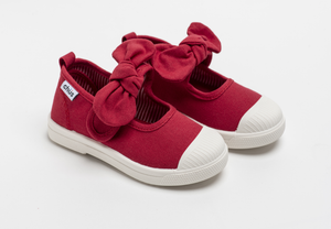 Canvas sneakers with single velcro strap and removable bow tie in red. Adorable monogrammed. Chus Shoes.