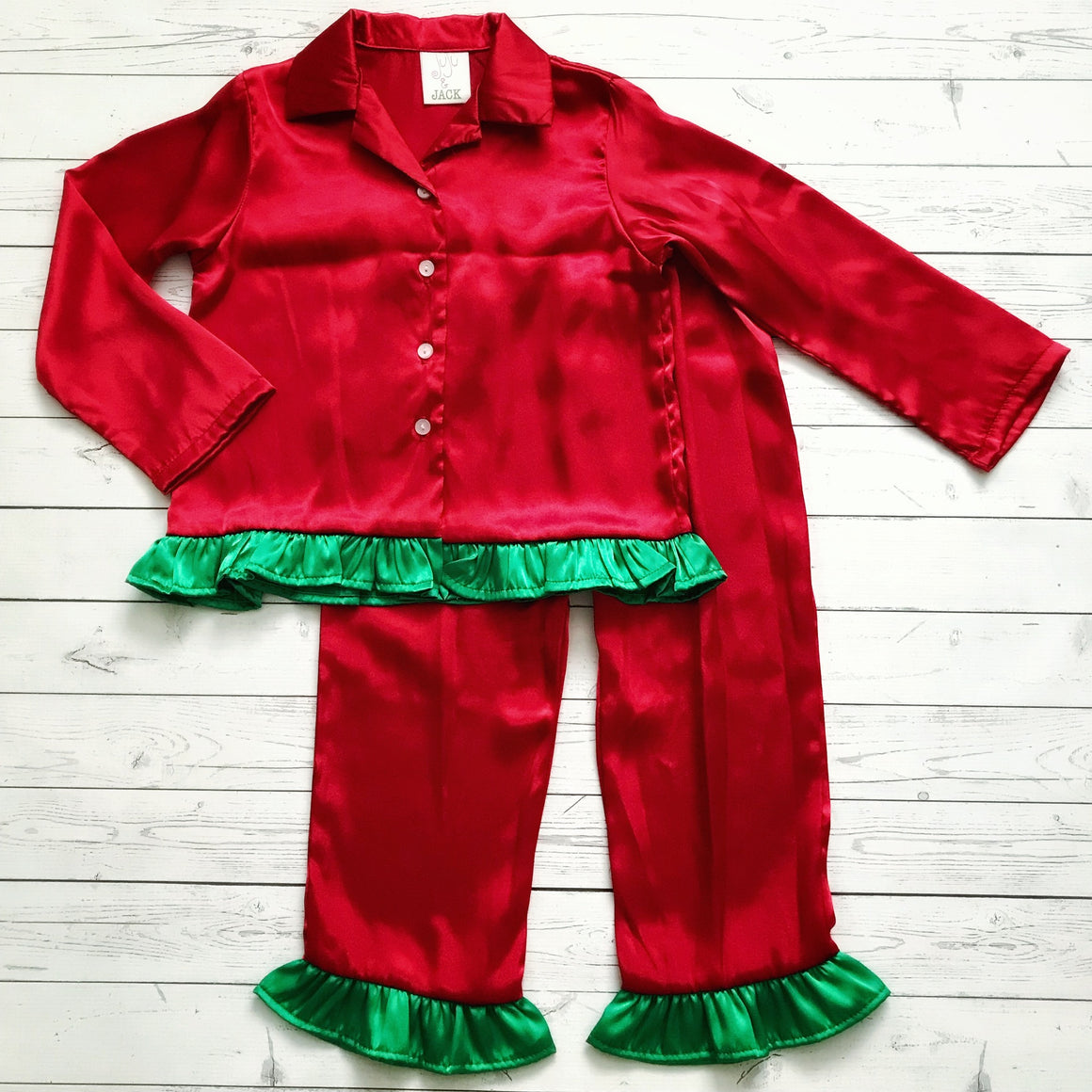 Juju & Jack Sleepware Girls Red with Green Ruffle Pajama Set
