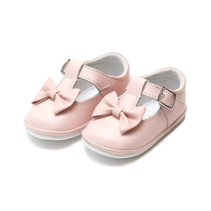 light pink baby girl minnie bow mary jane shoes from L'Amour available at Threadfare Children's Boutique