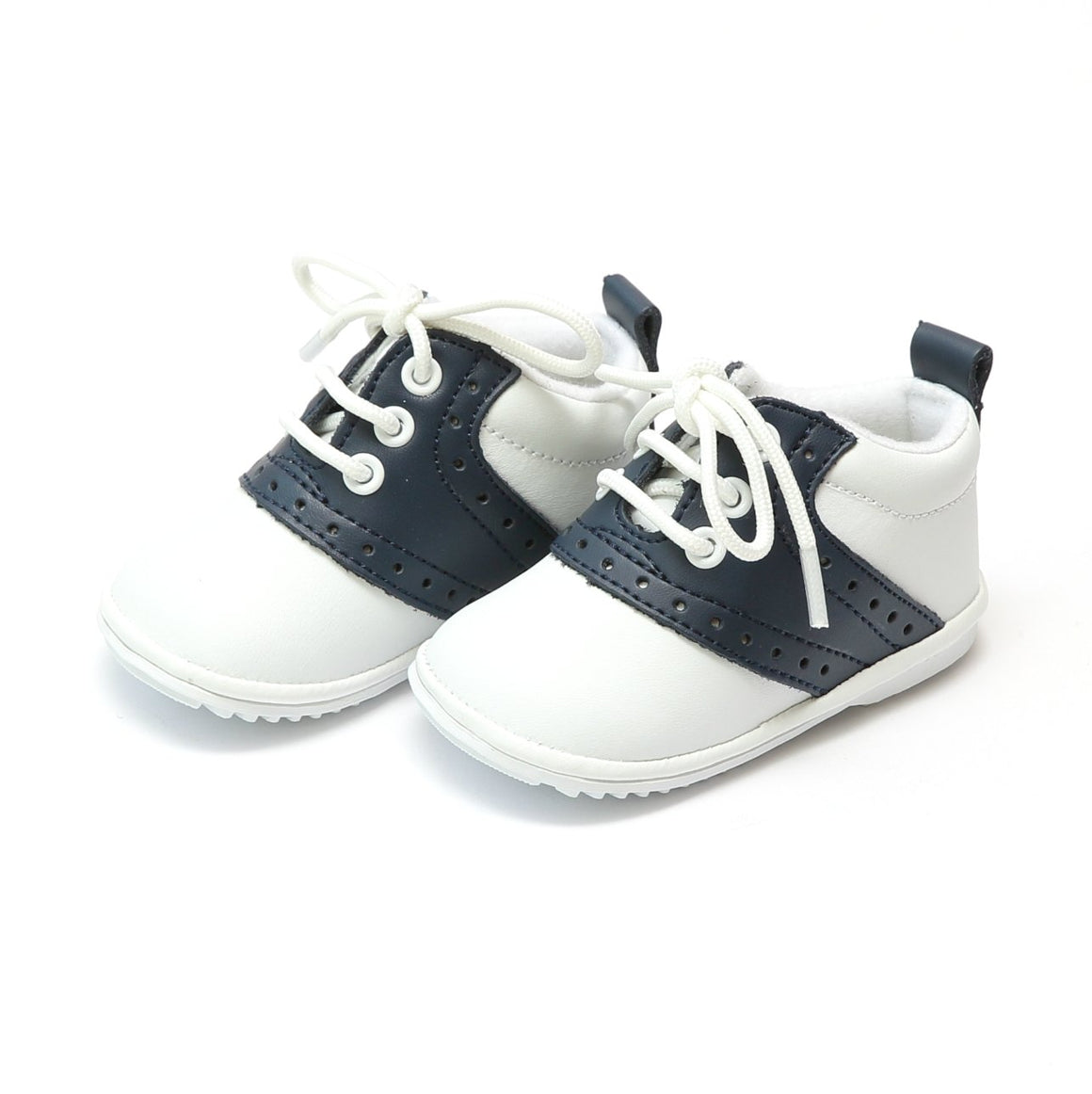 navy and white leather baby boys saddle oxford lace-up boots from L'Amour Shoes, available at Threadfare