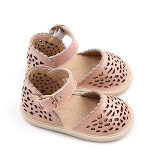 Consciously Baby | Leather Pocket Sandal in Bellagio Pink | Baby Soft Sole