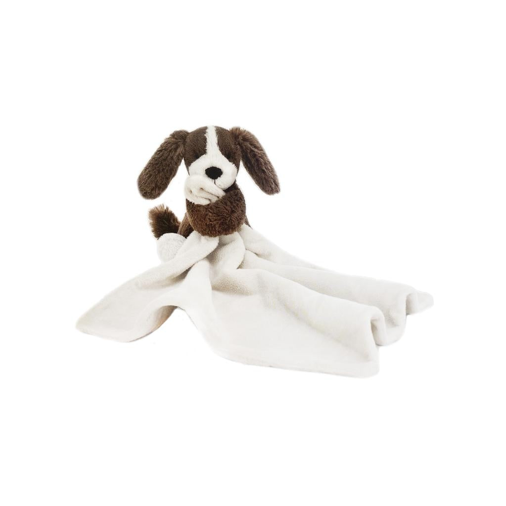 Small bashful fudge puppy stuffed plush stitched with a soft lovey blanket. From Jellycat.