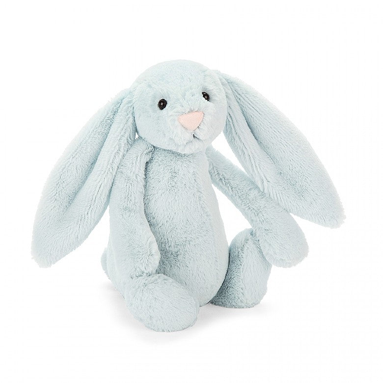 "A super soft light blue plush bunny, Bashful Beau Bunny. 15"" in height. Plush soft stuffed animal"