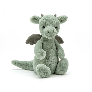 A soft sage green sweet little dragon with tail, suede wings and little horns. A super cute plush stuffed animal toy. 12""