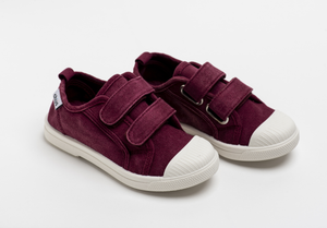 Distressed maroon canvas sneakers with double velcro straps. Chus Shoes.