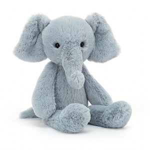 "13"" stuffed plush steel blue ""Bobbie Elly"" elephant toy from Jellycat."