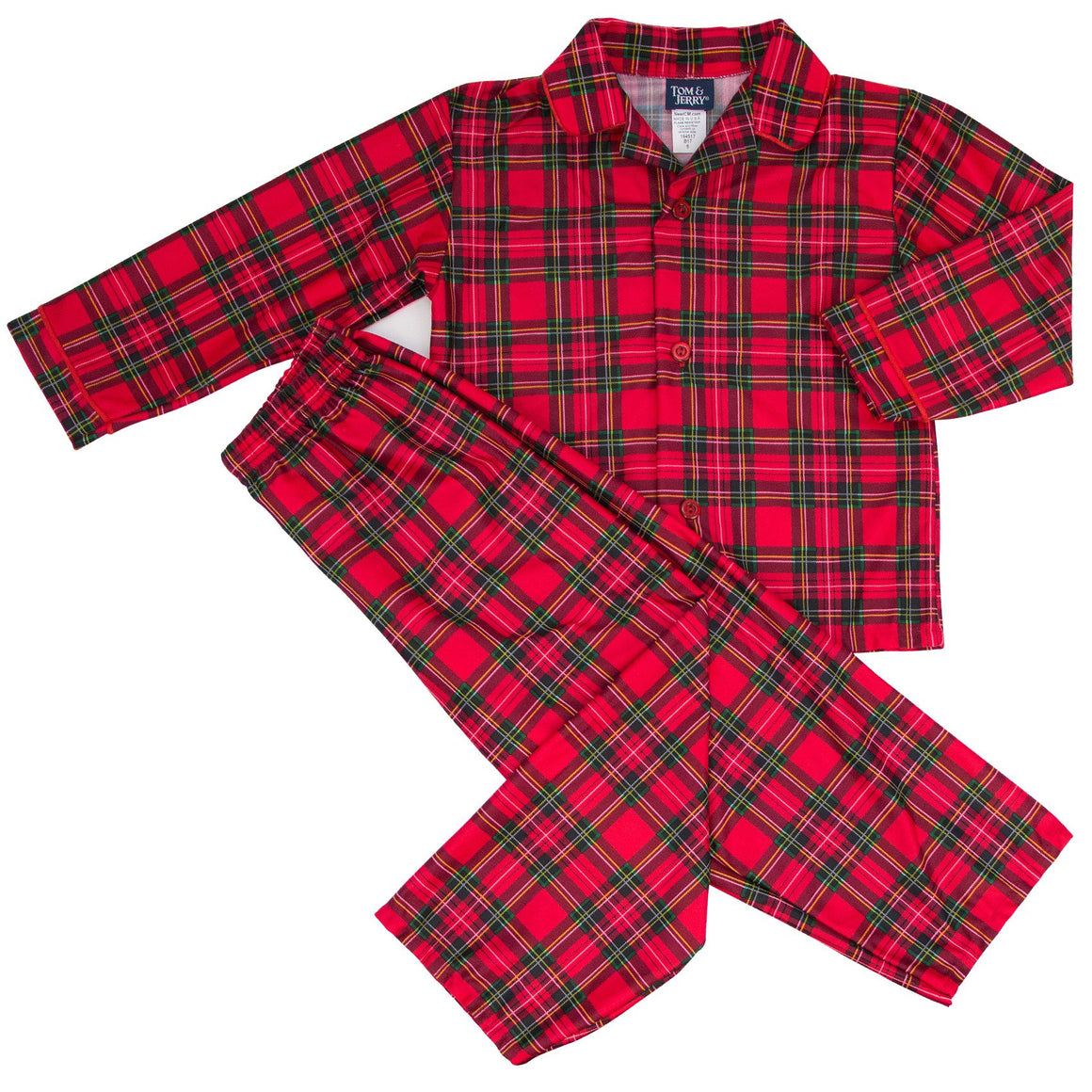 Tom & Jerry Sleepware Boys Holiday Plaid Tailored Pajama Set