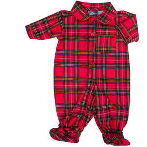 Tom & Jerry Sleepware Boys Holiday Plaid Footed Jumpsuit