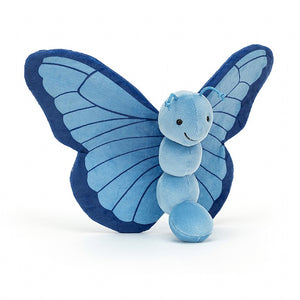 "9"" x 10"" blue Breezy Butterfly stuffed plush animal, Iris. By Jellycat."
