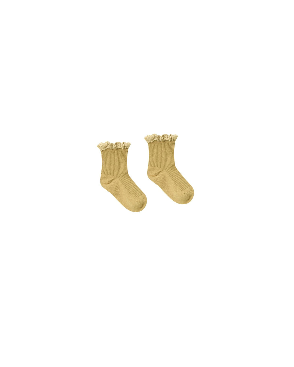 Children's lace trim ruffle ankle socks in golden citron yellow.