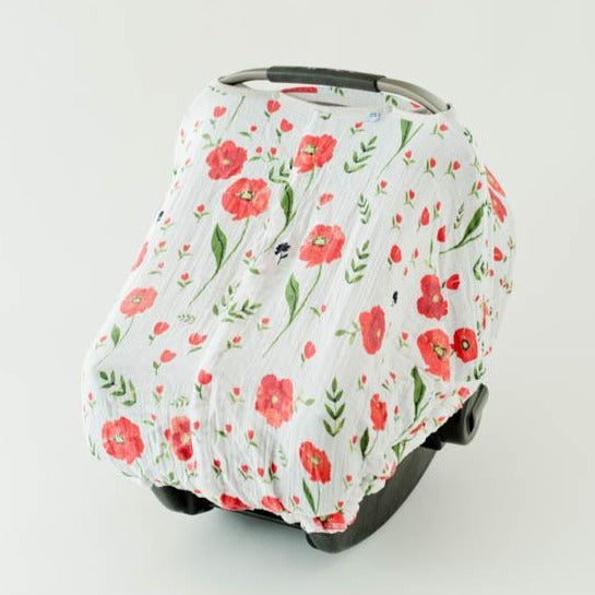 Little Unicorn | Cotton Muslin Car Seat Canopy | Summer Poppy
