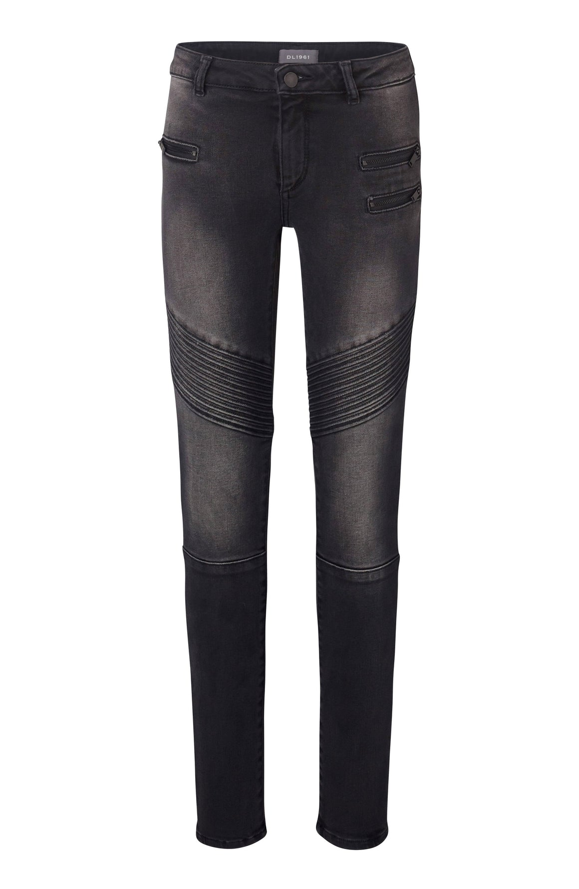 DL1961 Chloe Skinny Moto Black Denim Jean in Harley Wash