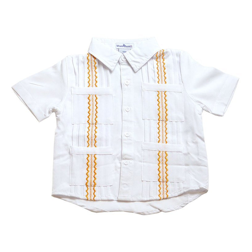 Blue Quail Clothing Co Boys Guayabera Shirt in White/Orange