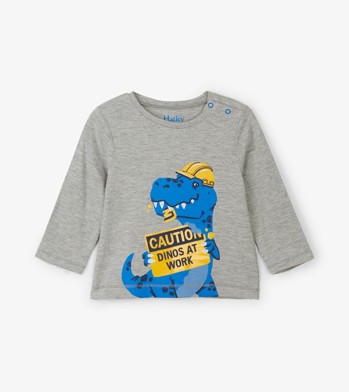 Hatley Dino Construction Worker Long Sleeve Baby Tee in Heather Grey