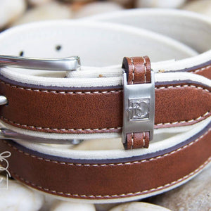 Boys Double Leather Belt | Antique White / Light Brown
