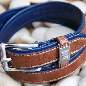 Boys Double Leather Belt | Navy / Brown