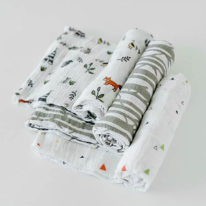 forest friends 3 pack of muslin baby swaddles