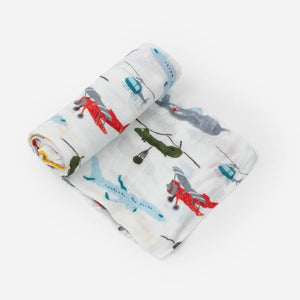 Little Unicorn Deluxe Muslin Swaddle Blanket for baby boys, Air Show print