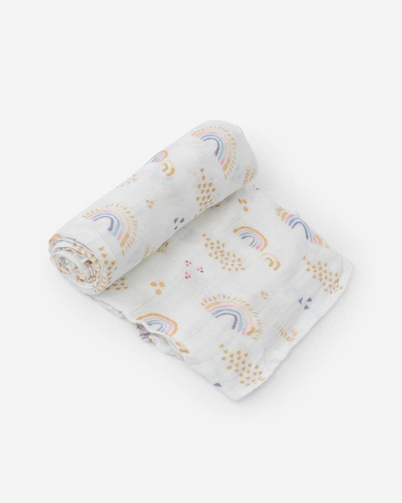 Little Unicorn Deluxe Muslin Swaddle Blanket for baby girls, Rainbows and Raindrops print