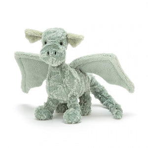 "A super soft and super sweet mossy green little dragon standing 10"" tall. The perfect stuffed animal toy for a little boy or girl to cuddle."