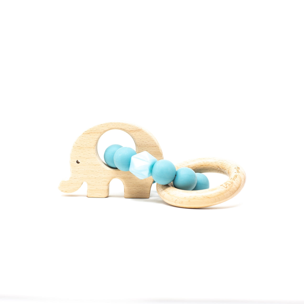 Three Hearts | Elephant Wooden Teething Rattle | Aquamarine