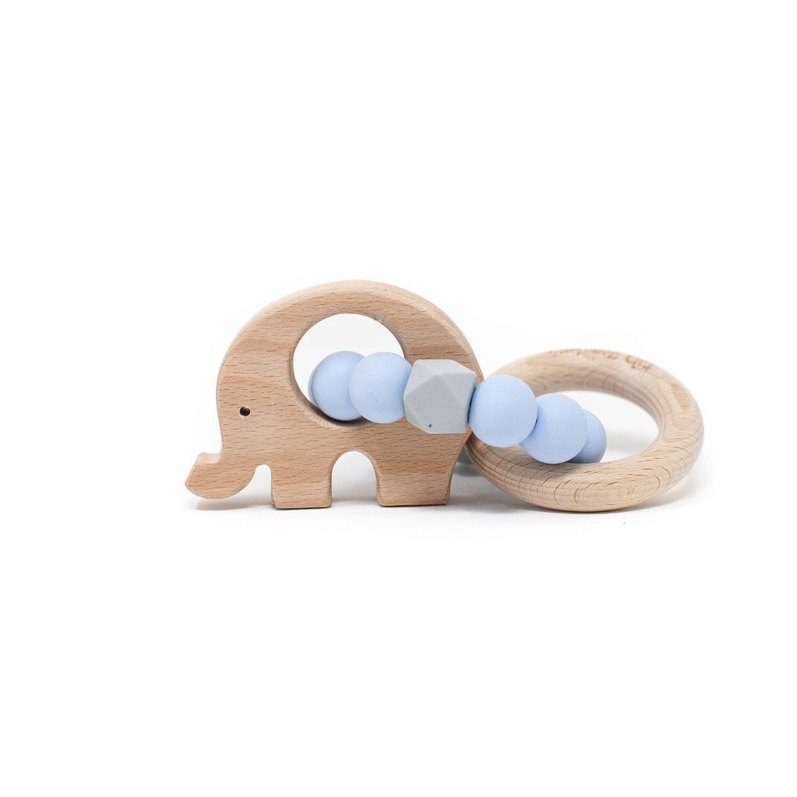 Three Hearts | Elephant Wooden Teething Rattle | Baby Blue