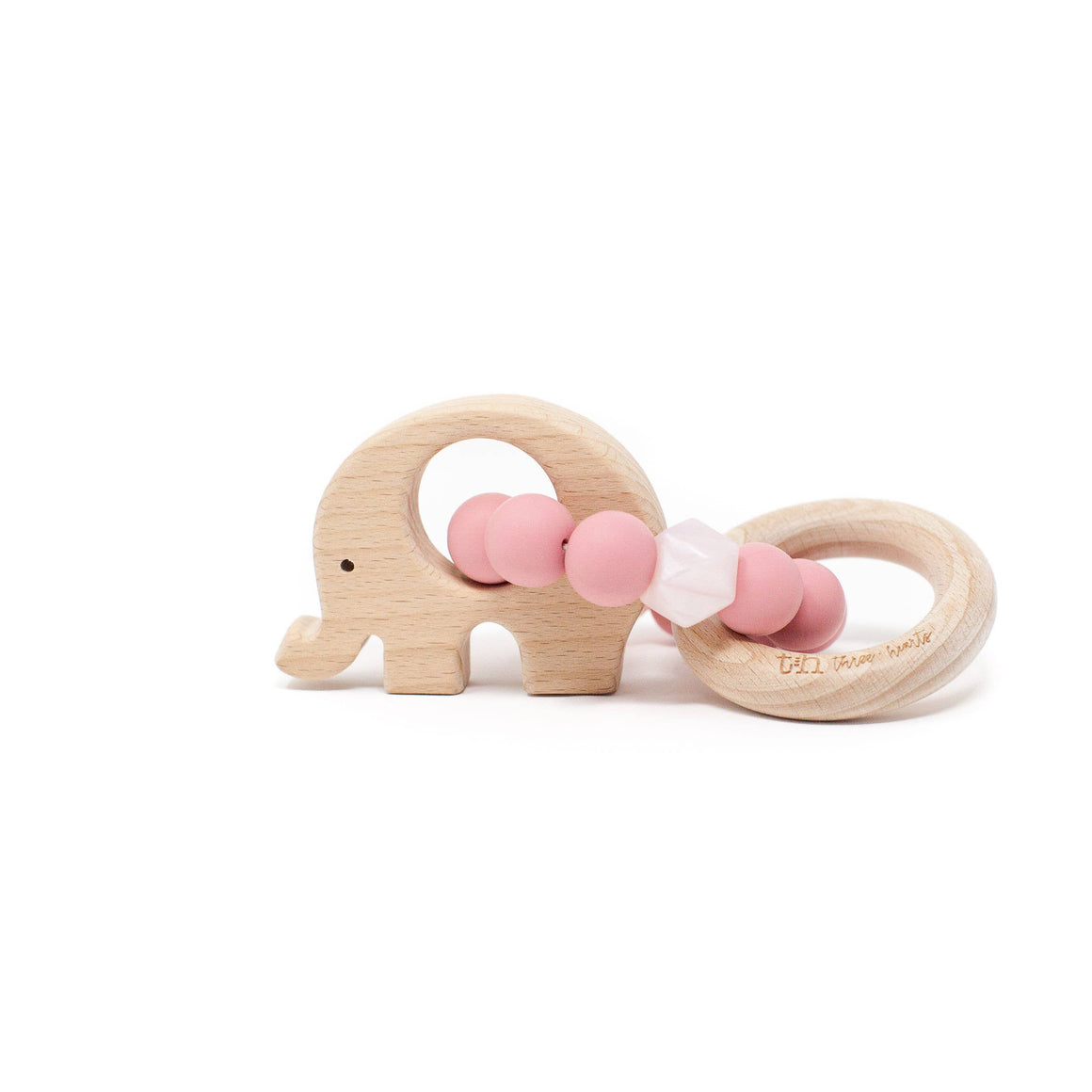 Three Hearts | Elephant Wooden Teething Rattle | Dusty Rose