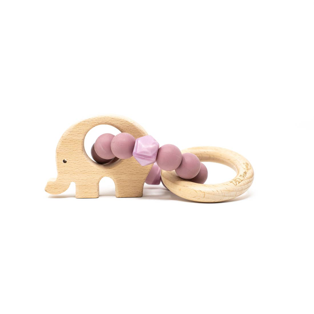 Three Hearts | Elephant Wooden Teething Rattle | Mauve
