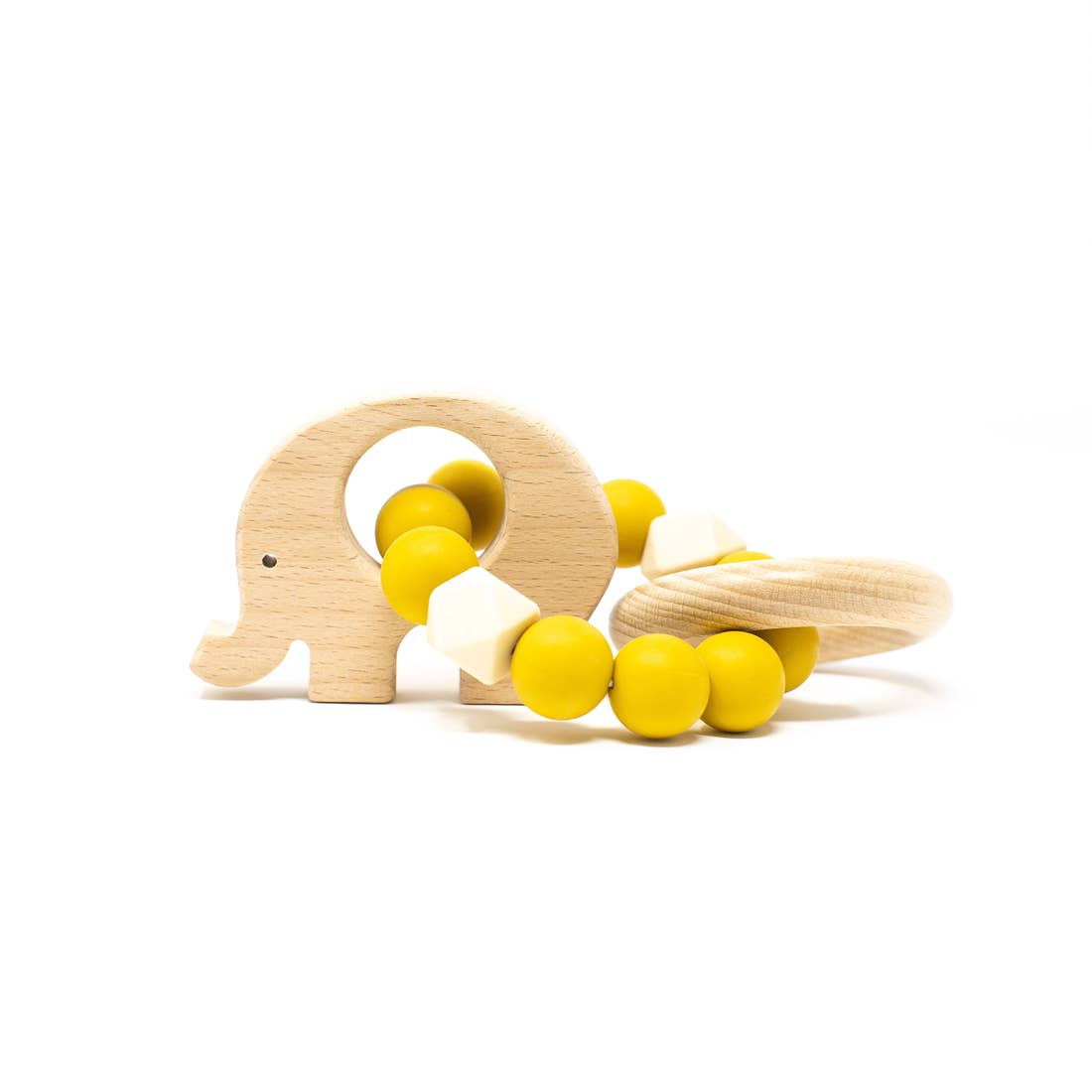 Three Hearts | Elephant Wooden Teething Rattle | Mustard