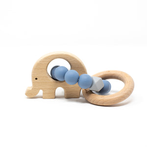 Three Hearts | Elephant Wooden Teething Rattle | Slate