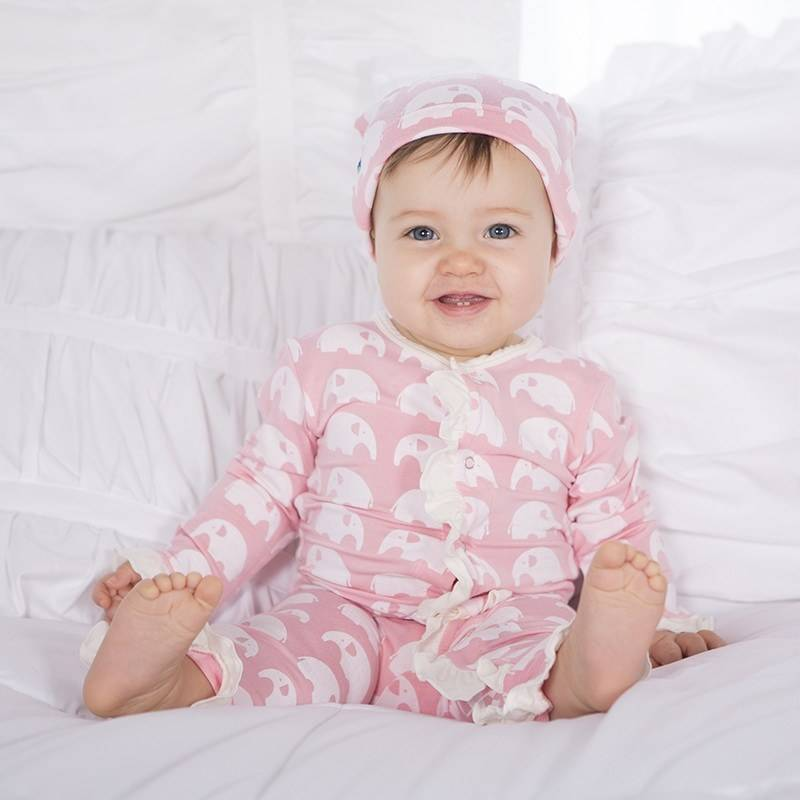 KicKee Pants Essentials Layette Double Knot Hat Lotus Elephant
