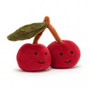 "4"" plush stuffed fabulous fruit, cherries. By Jellycat."