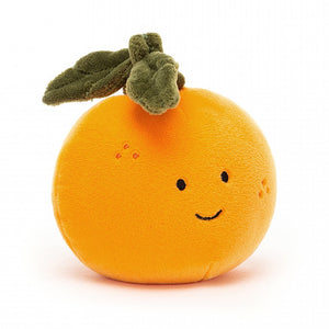 "7"" stuffed plush fabulous fruit orange, by Jellycat."