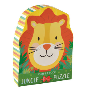 Floss and Rock 12 piece jigsaw puzzle - lion shaped box and lion shaped puzzle