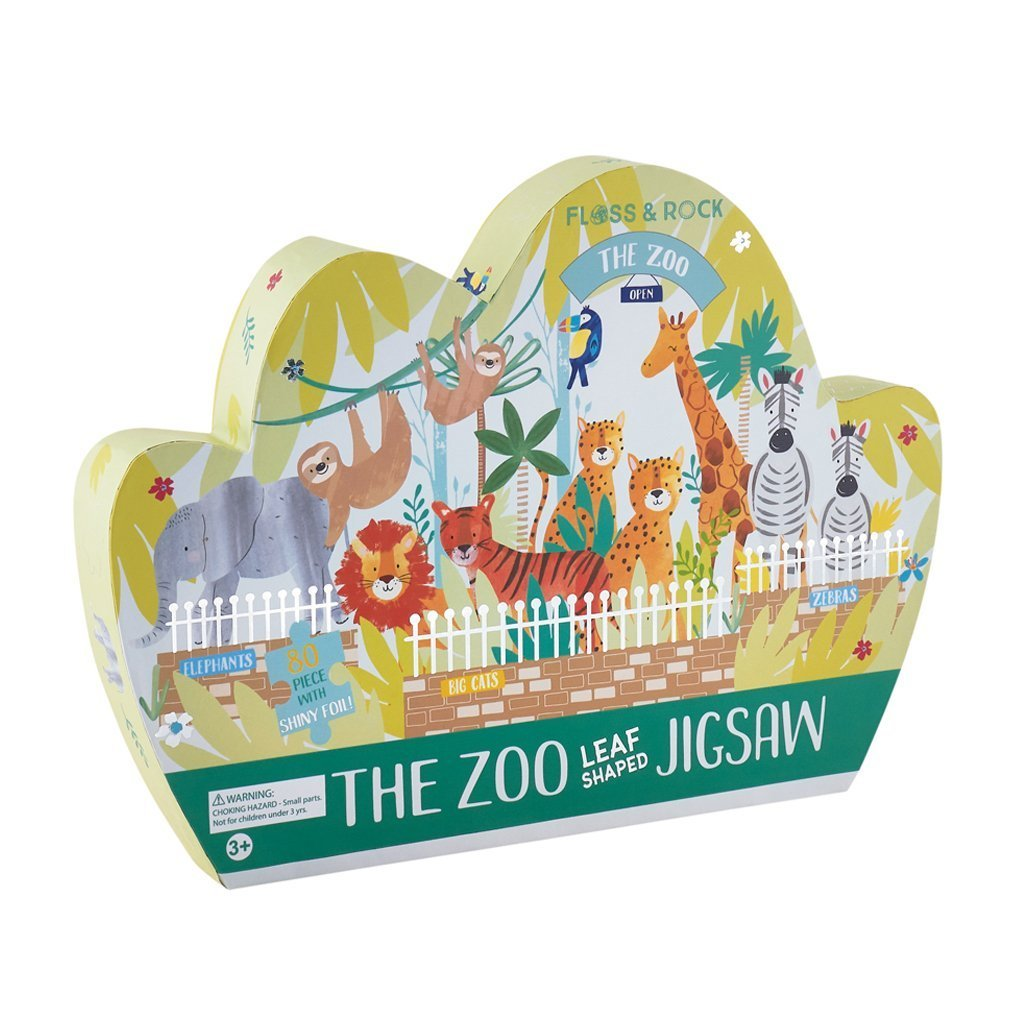 Floss & Rock | 80 Piece Jigsaw Puzzle | The Zoo Leaf Shaped