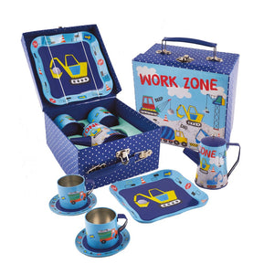 Floss and Rock Tin Construction Themed Tea Set for pretend play.