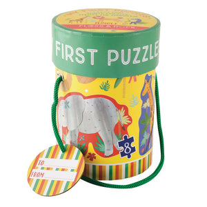 My First Puzzles from Floss and Rock. Jungle Theme. 3, 4, 6, 8 piece jigsaw puzzles in box.
