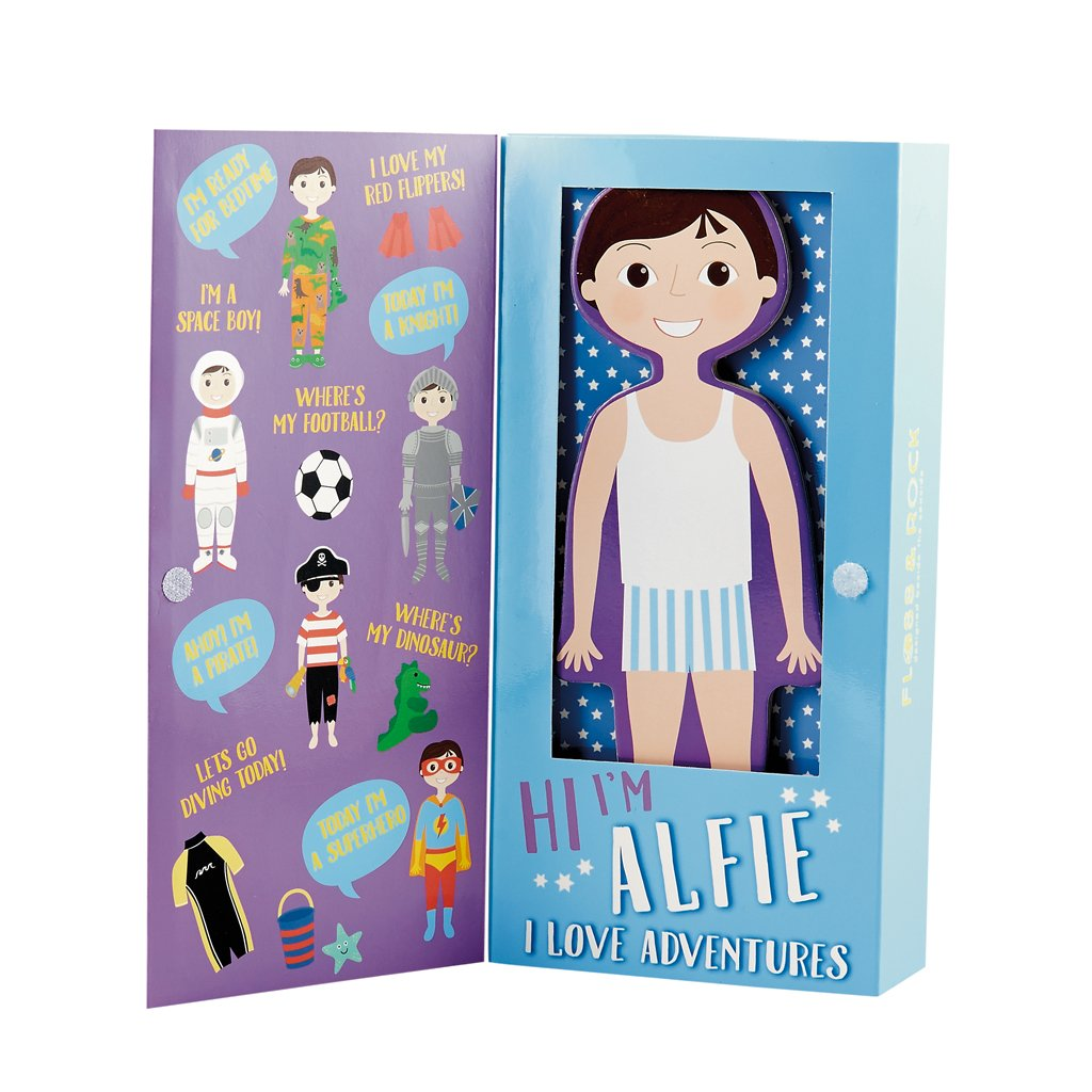 Floss and Rock Magnetic Wooden Boy Dress-up Doll toy, Alfie.