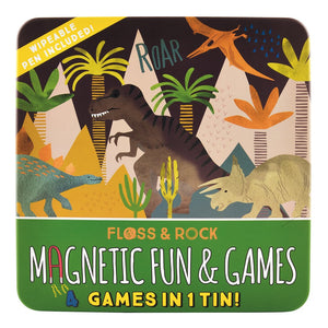 Floss and Rock 4 in 1 Magnetic Game Tin - Dinosaur Theme