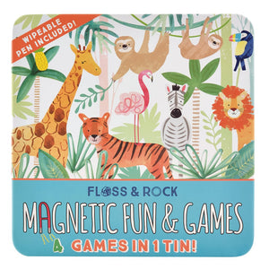 Floss & Rock | Magnetic Fun & Games 4-in-1 Game Tin | Jungle
