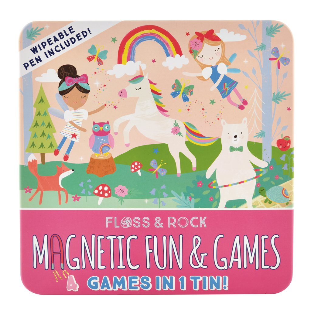 Floss & Rock | Magnetic Fun & Games 4-in-1 Game Tin | Rainbow Fairy