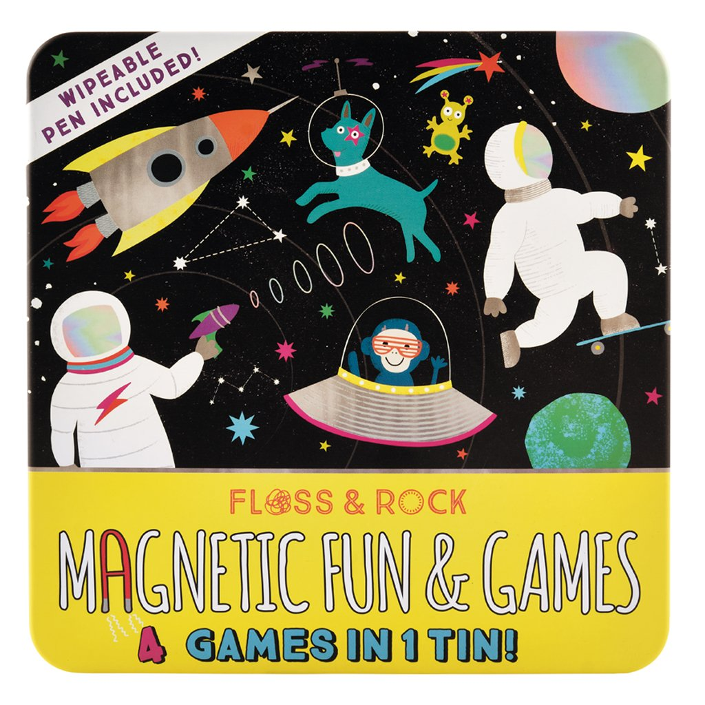 Floss & Rock | Magnetic Fun & Games 4-in-1 Game Tin | Space