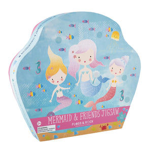 A glittery 40 piece mermaid and friends jigsaw puzzle in shaped box from Floss and Rock